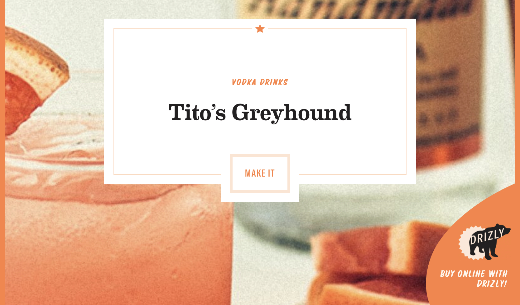 A screenshot of the Tito's Vodka website, featuring the typography.